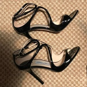 Current Jimmy Choo Lance Black Patent Sandals 37